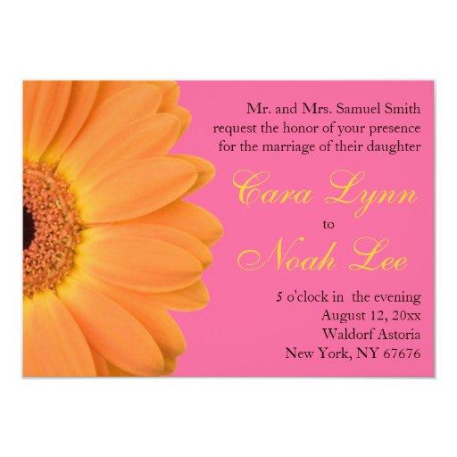 """Invitaciones anaranjadas y rosadas del boda de la invitación 4.5"""" x 6.25"""""""