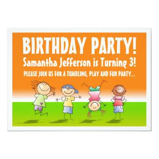 Invitaciones anaranjadas y verdes del fiesta del invitación 12,7 x 17,8 cm