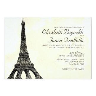 """Invitaciones antiguas del boda de la torre Eiffel Invitación 5"""" X 7"""""""