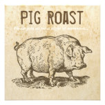 Invitaciones antiguas rústicas de la carne asada comunicado personalizado