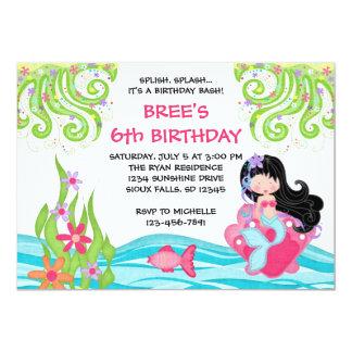 """Invitaciones asiáticas del cumpleaños de la sirena invitación 5"""" x 7"""""""