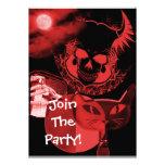 Invitaciones asustadizas rojas del fiesta de Hallo