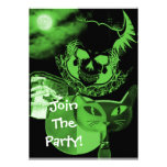 Invitaciones asustadizas verdes del fiesta de Hall