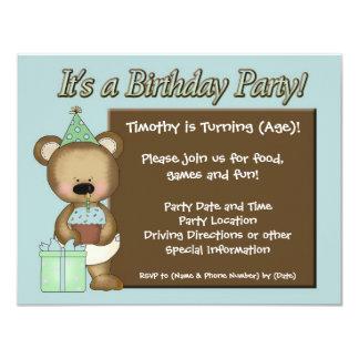 Invitaciones azules de la fiesta de cumpleaños del invitación 10,8 x 13,9 cm