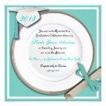 Invitaciones azules de la fiesta de graduación del invitaciones personalizada