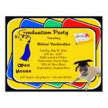 Invitaciones azules de la fiesta de graduación del invitación