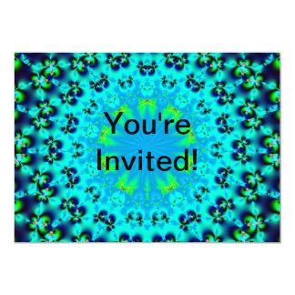 """Invitaciones azules de la flor del fractal invitación 5"""" x 7"""""""