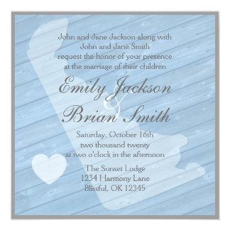 """Invitaciones azules de madera rústicas del boda de invitación 5.25"""" x 5.25"""""""
