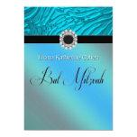 Invitaciones azules de Mitzvah del palo de la Invitaciones Personalizada