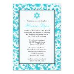 Invitaciones azules de Mitzvah del palo del Invitación 12,7 X 17,8 Cm