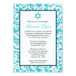 """Invitaciones azules de Mitzvah del palo del Invitación 5"""" X 7"""""""