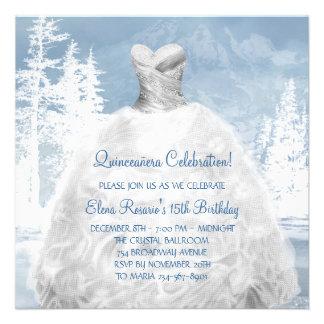 Invitaciones azules de Quinceanera de los copos de Comunicado Personal