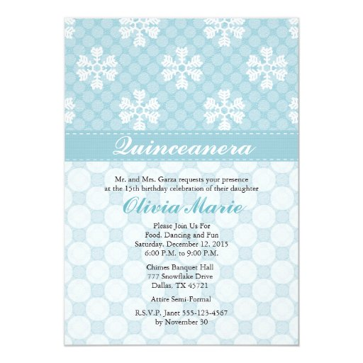 Invitaciones azules de Quinceanera del copo de Invitación 12,7 X 17,8 Cm
