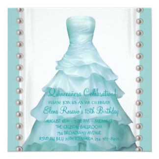 """Invitaciones azules de Quinceanera del trullo del Invitación 5.25"""" X 5.25"""""""