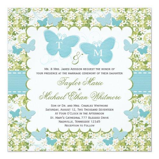 """Invitaciones azules del boda de la mariposa cones invitación 5.25"""" x 5.25"""""""