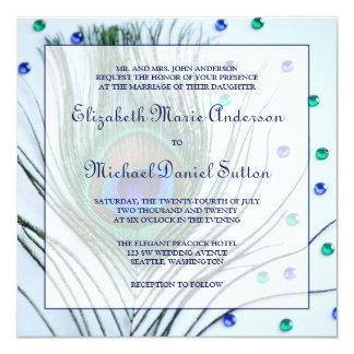 """Invitaciones azules del boda de la pluma atractiva invitación 5.25"""" x 5.25"""""""