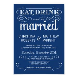 """Invitaciones azules del boda de la tipografía invitación 4.5"""" x 6.25"""""""