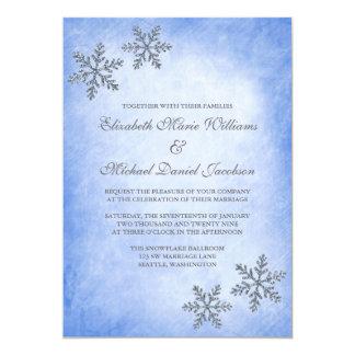 """Invitaciones azules del boda de los copos de nieve invitación 5"""" x 7"""""""