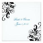 Invitaciones azules del boda de los remolinos invitación 13,3 cm x 13,3cm