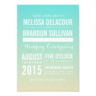 Invitaciones azules del boda de Ombre/de la Invitación 12,7 X 17,8 Cm