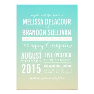 Invitaciones azules del boda de Ombre de la pendie Comunicados Personales