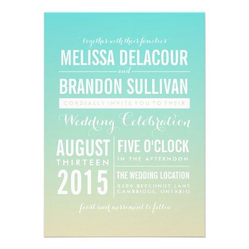 Invitaciones azules del boda de Ombre/de la pendie Comunicados Personales