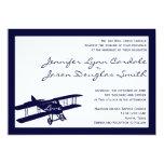 Invitaciones azules del boda del aviador del invitación