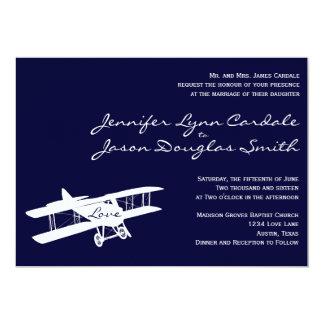 Invitaciones azules del boda del aviador del invitación 12,7 x 17,8 cm