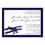 Invitaciones azules del boda del aviador del bipla invitación
