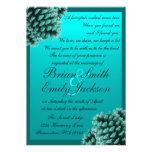 Invitaciones azules del boda del cono del pino del comunicados