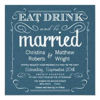 Invitaciones azules del boda del dril de algodón invitación 13,3 cm x 13,3cm