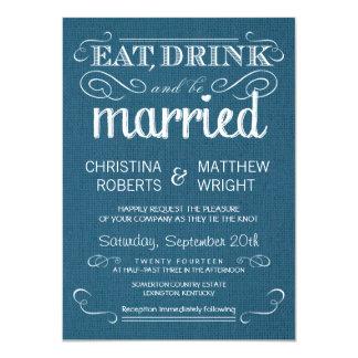 """Invitaciones azules del boda del dril de algodón invitación 4.5"""" x 6.25"""""""