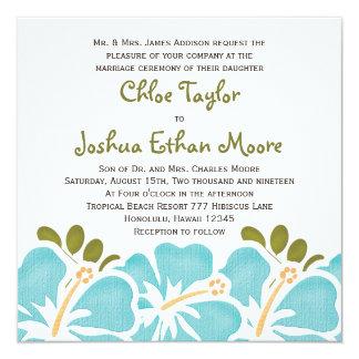 Invitaciones azules del boda del hibisco invitación 13,3 cm x 13,3cm