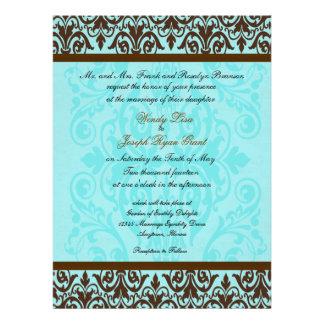 Invitaciones azules del boda del huevo de Brown y  Comunicado Personalizado