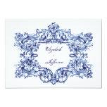Invitaciones azules del boda del marco del vintage comunicado personalizado