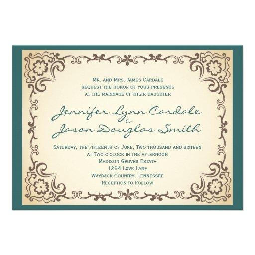 Invitaciones azules del boda del moreno del marco