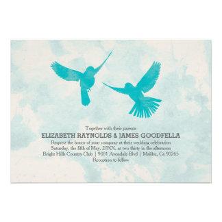 Invitaciones azules del boda del pájaro del vintag