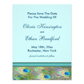 Invitaciones azules del boda del pavo real del tru comunicados personales