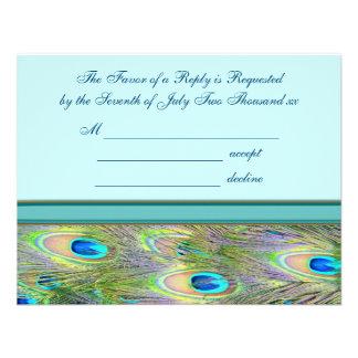 Invitaciones azules del boda del pavo real del tru invitacion personalizada