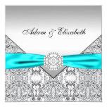 Invitaciones azules del boda del trullo de plata comunicados personales