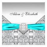 Invitaciones azules del boda del trullo de plata e comunicados personales