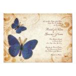Invitaciones azules del boda del vintage de las invitación 12,7 x 17,8 cm
