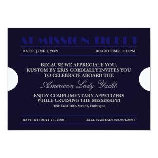 """Invitaciones azules del boleto 5x7 de la admisión invitación 5"""" x 7"""""""