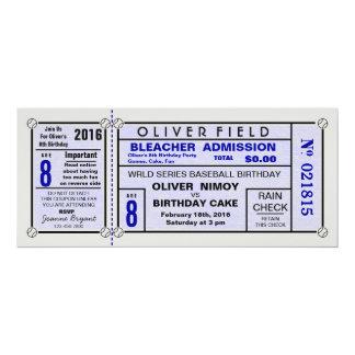 """Invitaciones azules del cumpleaños del béisbol del invitación 4"""" x 9.25"""""""