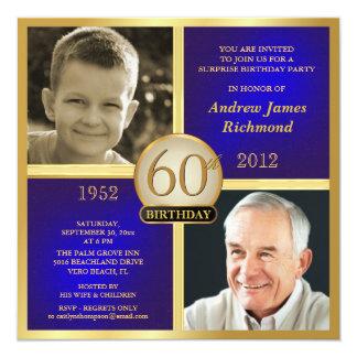 Invitaciones azules del cumpleaños del oro anuncio personalizado