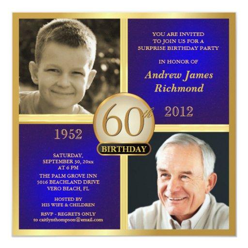 """Invitaciones azules del cumpleaños del oro invitación 5.25"""" x 5.25"""""""