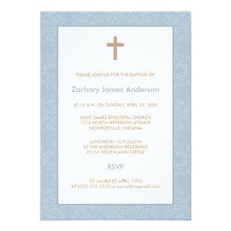 Invitaciones azules del damasco y del bautismo de anuncio