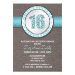 Invitaciones azules del dulce 16 de la aguamarina