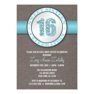 Invitaciones azules del dulce 16 de la aguamarina comunicado