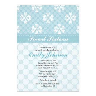 Invitaciones azules del dulce dieciséis del copo d